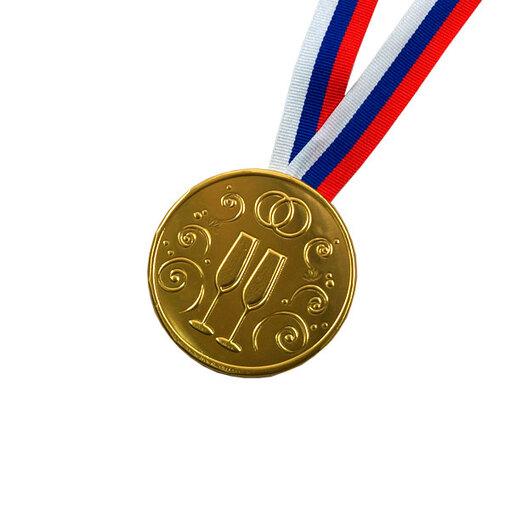 """Шоколадная медаль на ленте """"Свадебная"""" ( лента триколор )"""