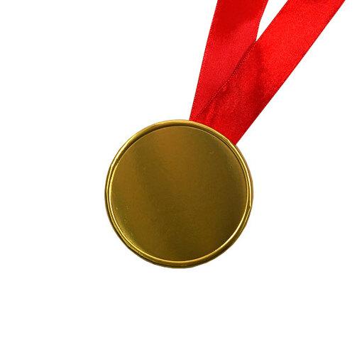Шоколадные медали на ленте ( без изображения, лента красная )