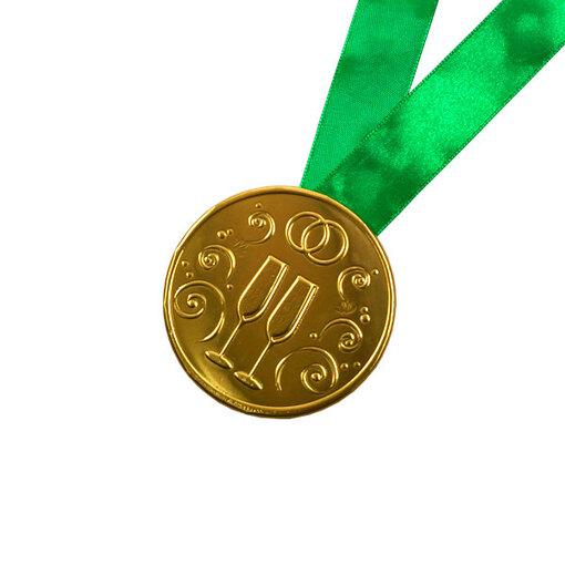 """Шоколадная медаль на ленте """"Свадебная"""" ( лента зелёная )"""