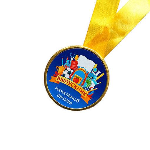 Шоколадная медаль на ленте Выпускник начальной школы ( лента жёлтая )