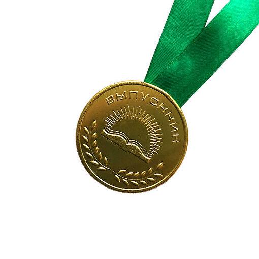 Шоколадная медаль на ленте выпускнику ( лента зелёная )
