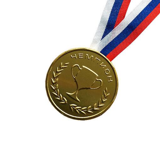 Шоколадная медаль на ленте Чемпион ( лента триколор )