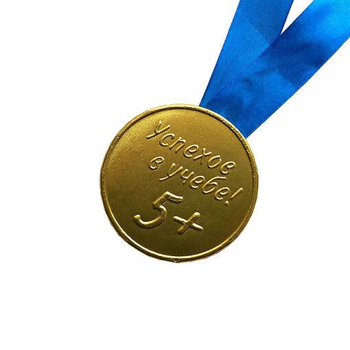 """Шоколадная медаль на ленте """"Успехов в учёбе"""" ( лента синяя )"""