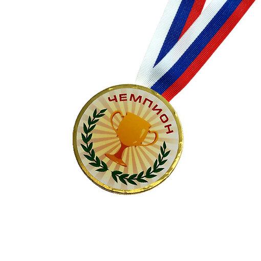 Шоколадная медаль на ленте Чемпион ( наклейка, лента триколор )