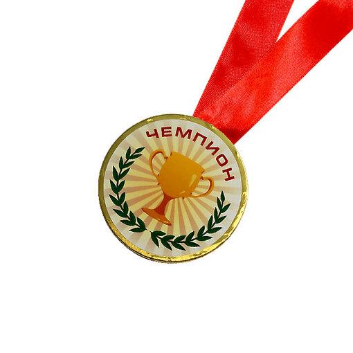 Шоколадная медаль на ленте Чемпион ( наклейка, лента красная )