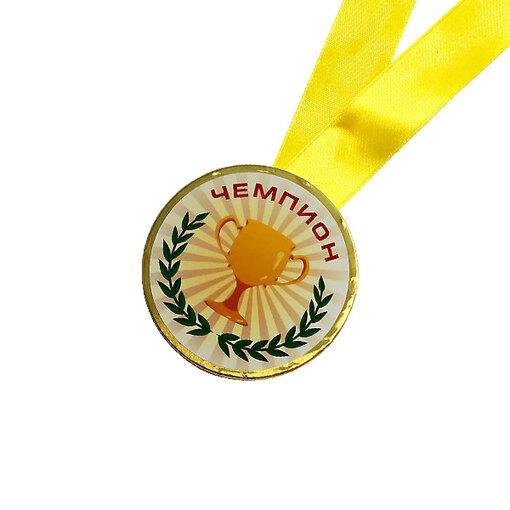 Шоколадная медаль на ленте Чемпион ( наклейка, лента желтая )