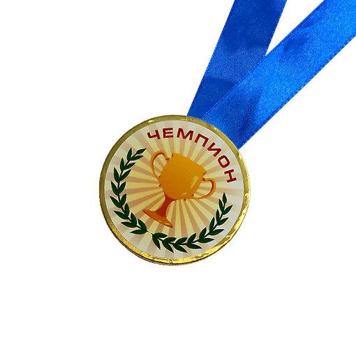 Шоколадная медаль на ленте Чемпион ( наклейка, лента синяя )