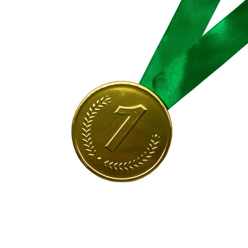 Шоколадная медаль на ленте первое место ( лента зелёная )