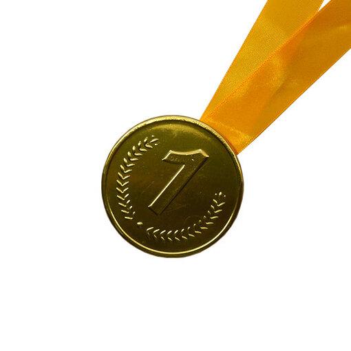 Шоколадная медаль на ленте первое место ( лента желтая )
