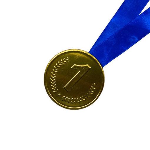 Шоколадная медаль на ленте первое место ( лента синяя )