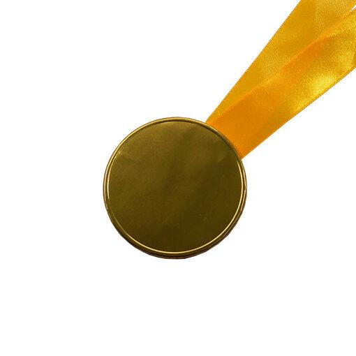 Шоколадные медали на ленте ( без изображения, лента желтая )