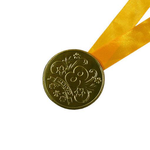 Шоколадная медаль на ленте 8 марта ( лента желтая )