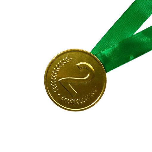 Шоколадная медаль на ленте второе место ( лента зелёная )