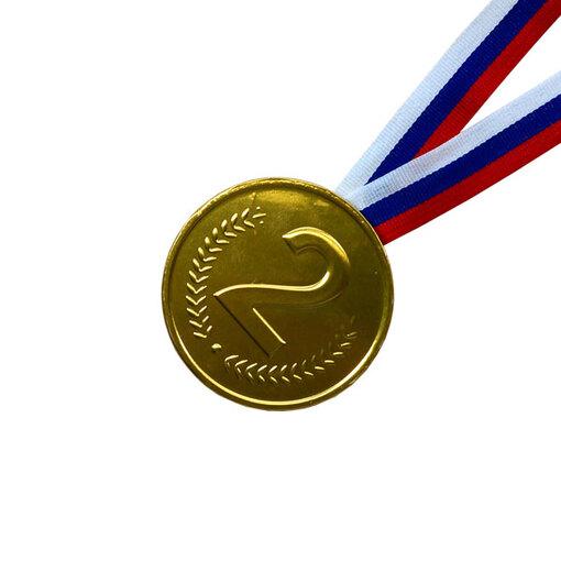 Шоколадная медаль на ленте второе место ( лента триколор )
