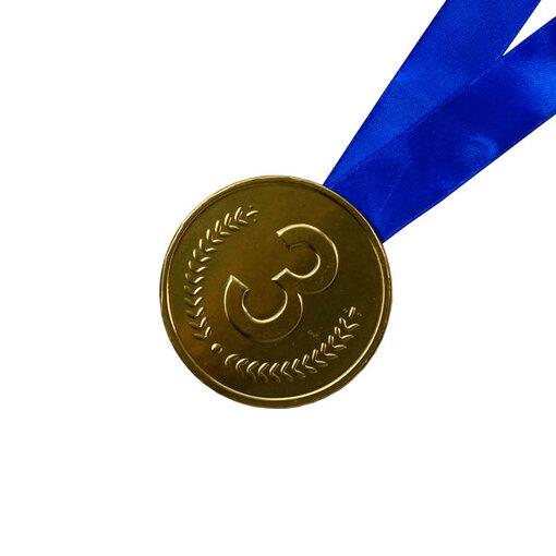 Шоколадная медаль на ленте третье место ( лента синяя )