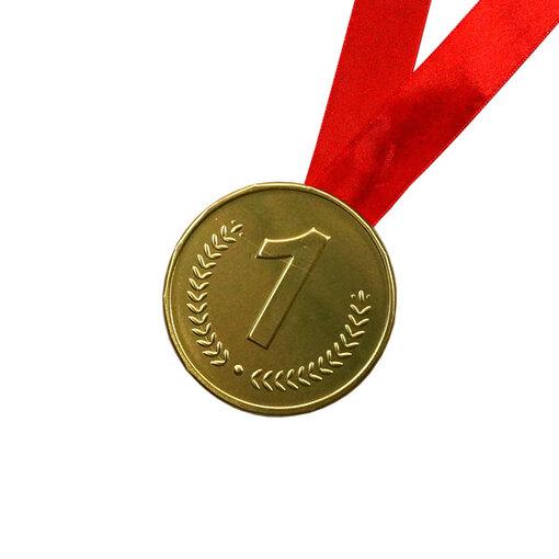 Шоколадная медаль на ленте первое место ( лента красная )