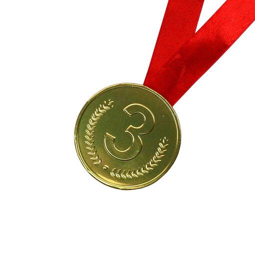 Шоколадная медаль на ленте третье место ( лента красная )