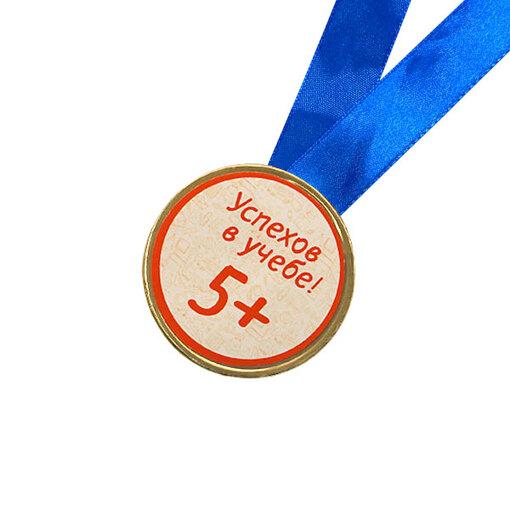 Шоколадная медаль на ленте +5 ( наклейка, лента синяя )